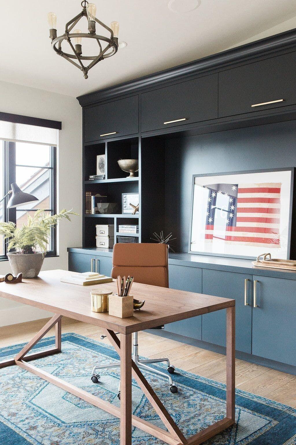 Elegant Blue Office Decor Ideas 09
