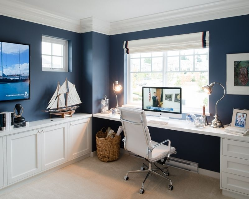 Elegant Blue Office Decor Ideas 13