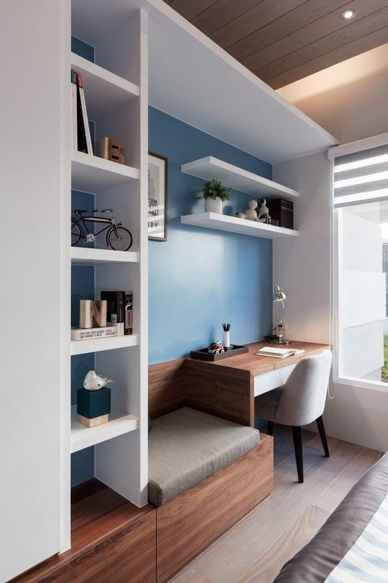 Elegant Blue Office Decor Ideas 16