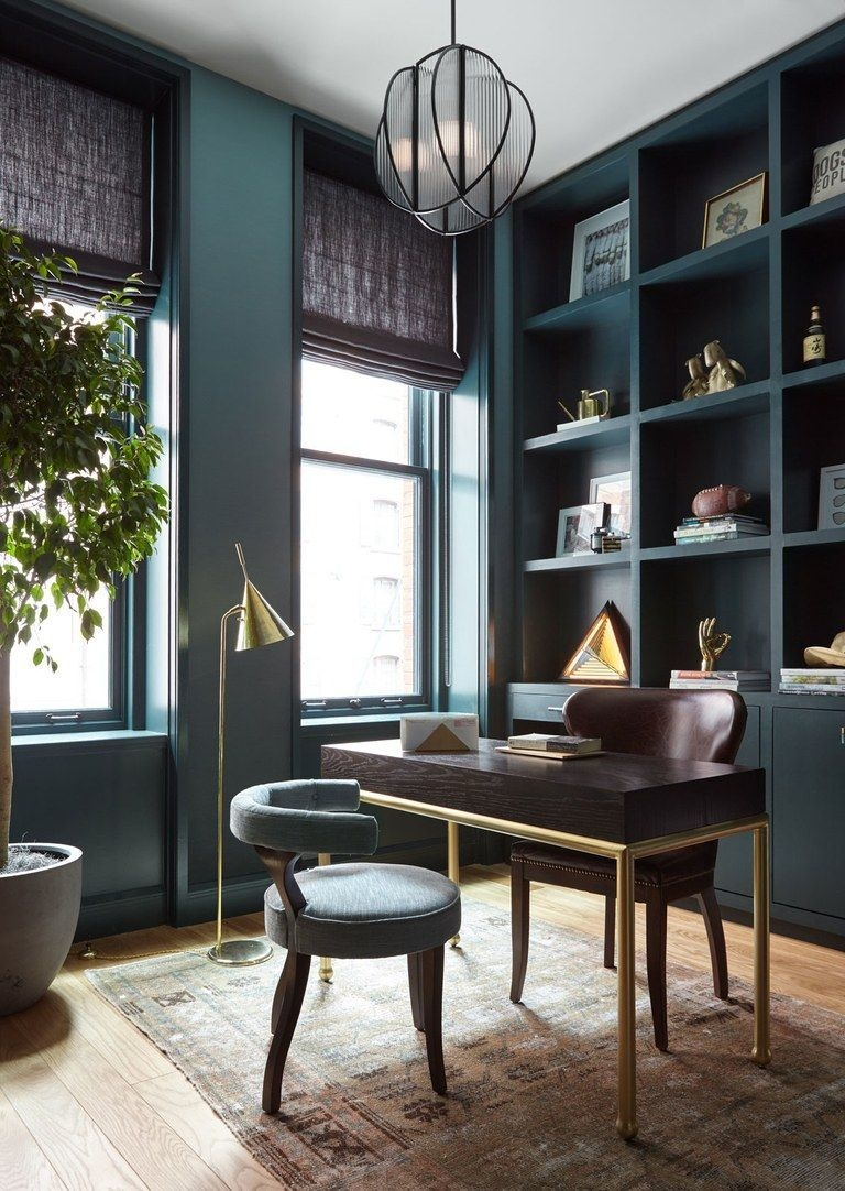 Elegant Blue Office Decor Ideas 18