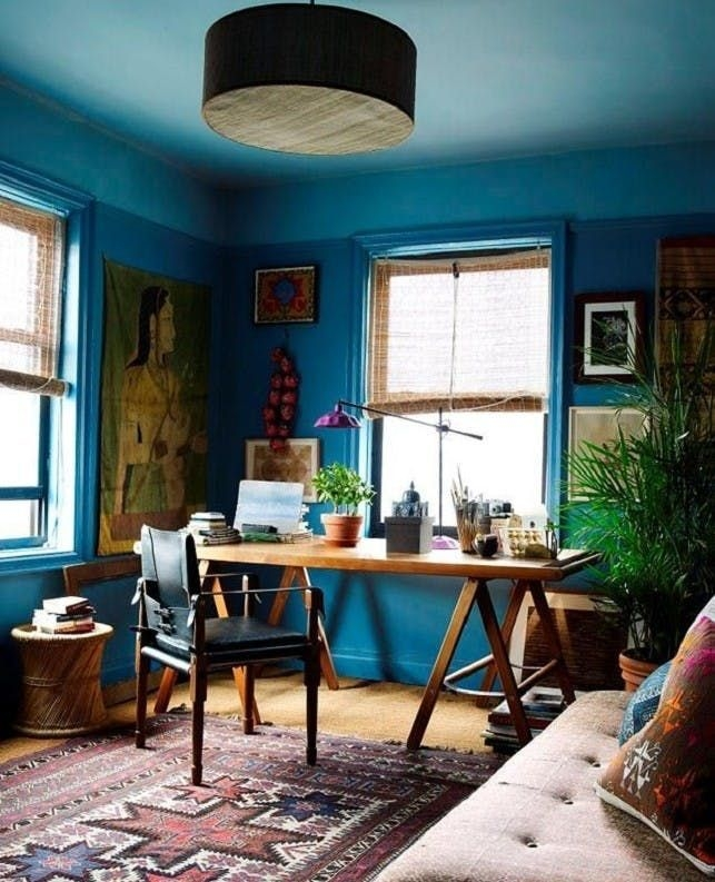 Elegant Blue Office Decor Ideas 23