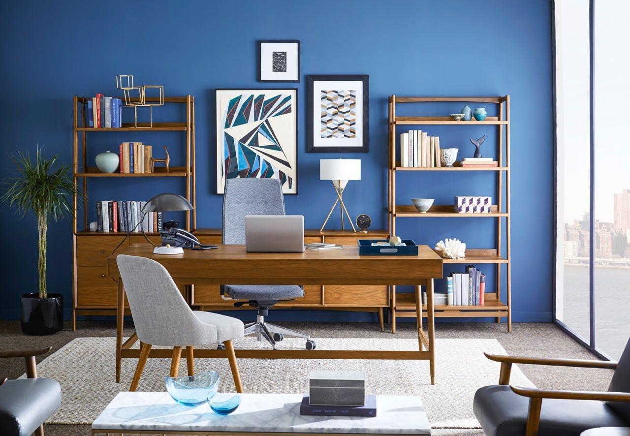 Elegant Blue Office Decor Ideas 39