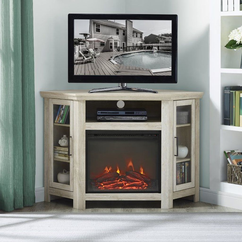 Inspiring Corner Fireplace Ideas In The Living Room 06