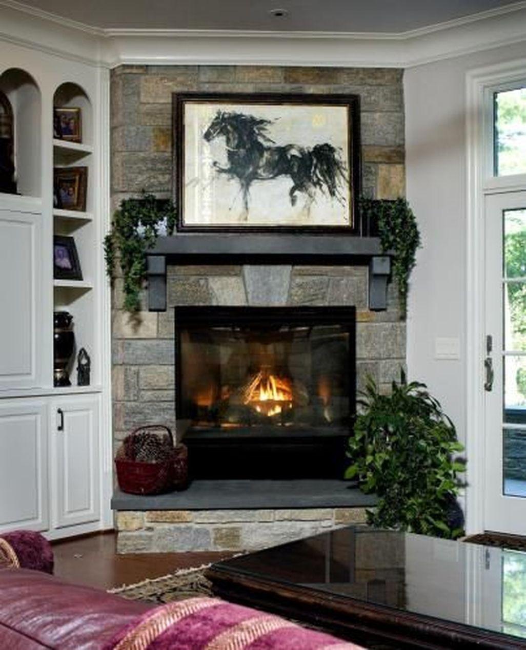 Inspiring Corner Fireplace Ideas In The Living Room 22