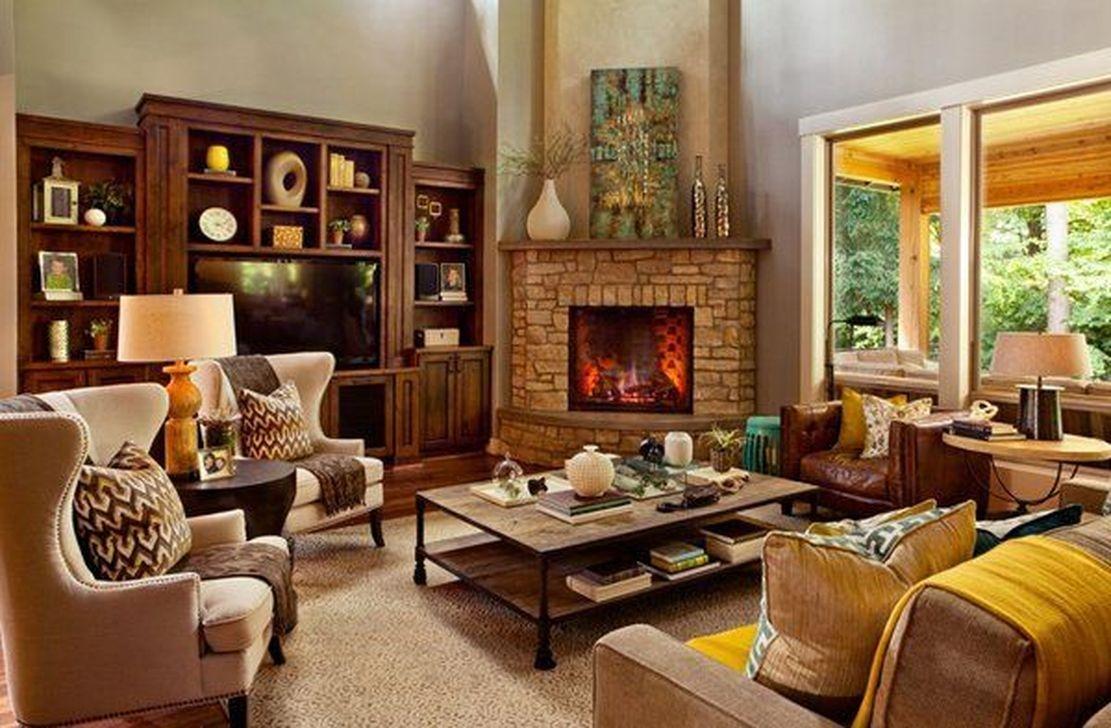 Inspiring Corner Fireplace Ideas In The Living Room 36