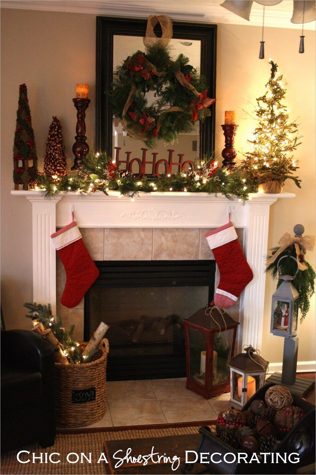 Creative Rustic Christmas Fireplace Mantel Décor Ideas 37