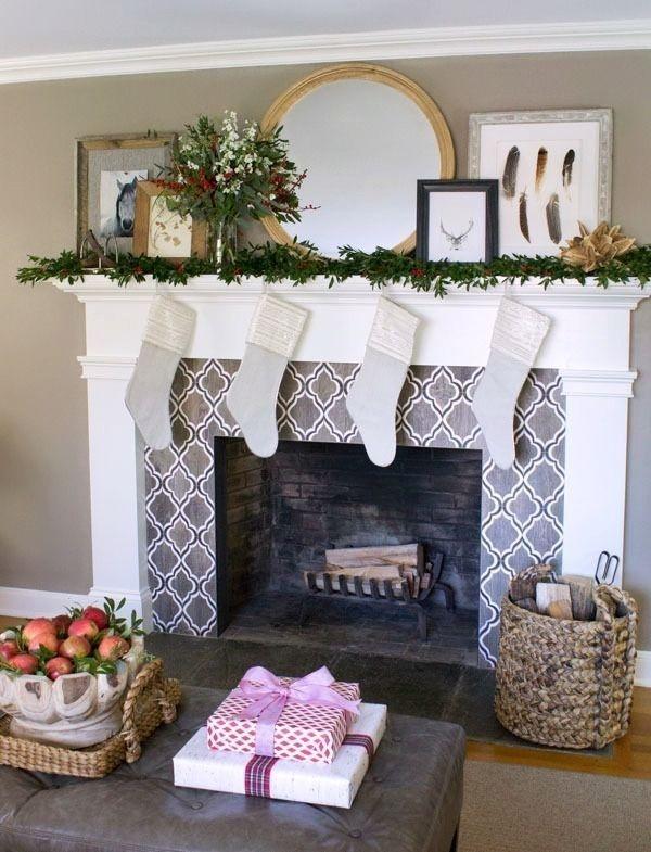Creative Rustic Christmas Fireplace Mantel Décor Ideas 40
