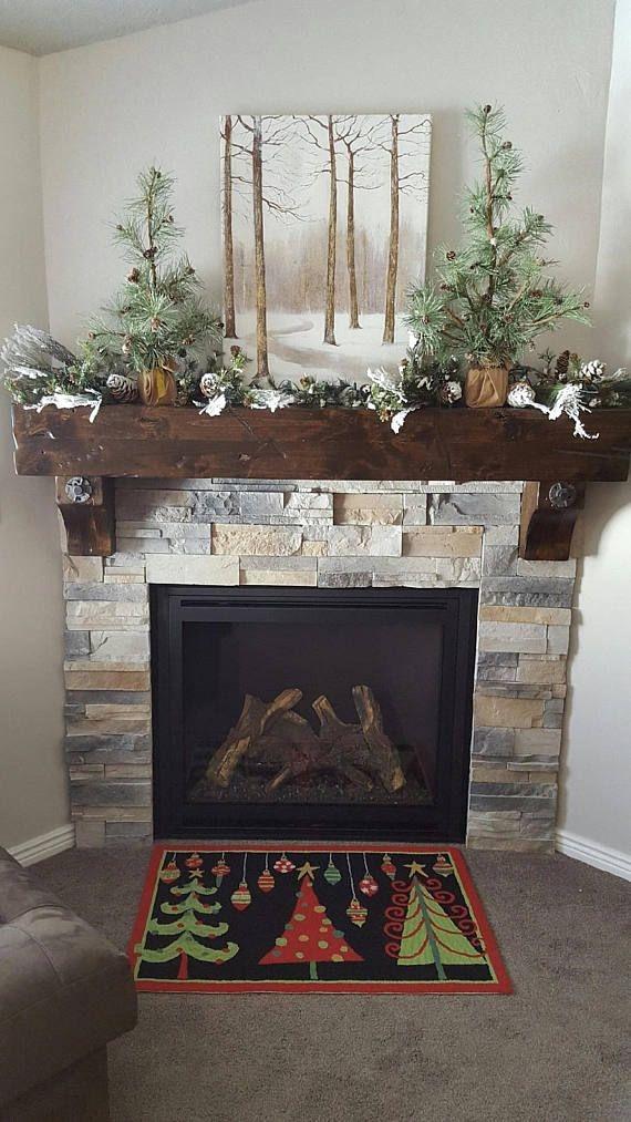Creative Rustic Christmas Fireplace Mantel Décor Ideas 43