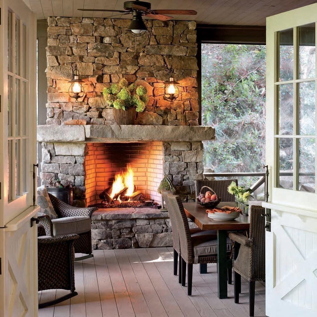 Fabulous Rock Stone Fireplaces Ideas For Christmas Décor 01