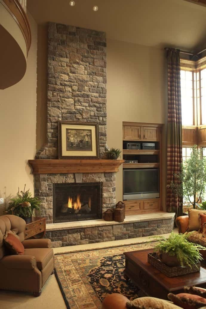 Fabulous Rock Stone Fireplaces Ideas For Christmas Décor 03