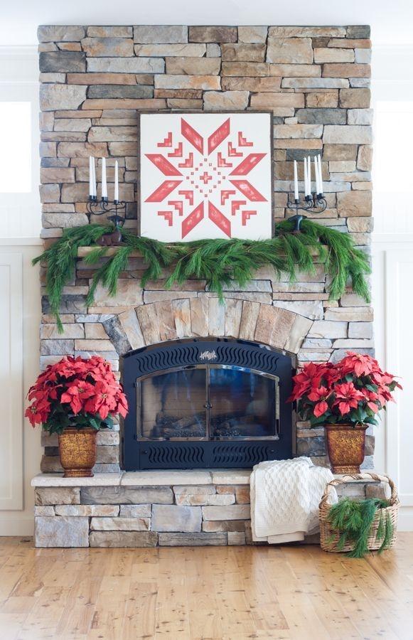 Fabulous Rock Stone Fireplaces Ideas For Christmas Décor 15
