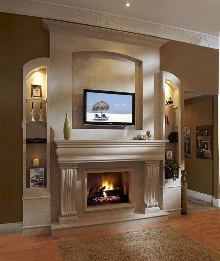 Fabulous Rock Stone Fireplaces Ideas For Christmas Décor 19