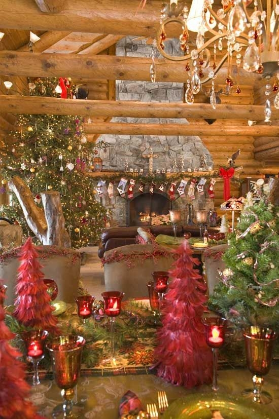 Gorgoeus Rustic Stone Fireplace With Christmas Décor 01