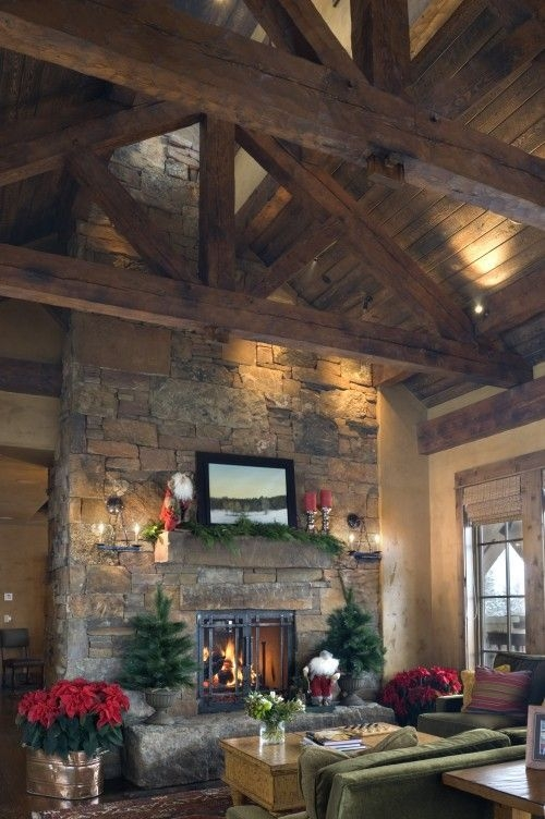 Gorgoeus Rustic Stone Fireplace With Christmas Décor 21
