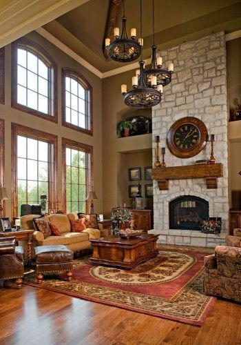 Gorgoeus Rustic Stone Fireplace With Christmas Décor 26