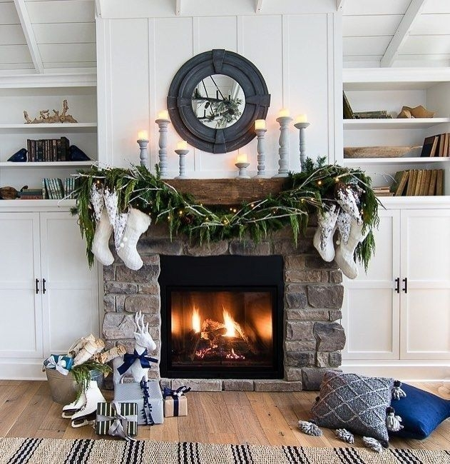Gorgoeus Rustic Stone Fireplace With Christmas Décor 28