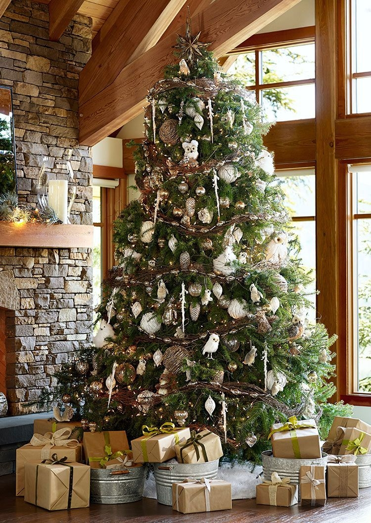 Gorgoeus Rustic Stone Fireplace With Christmas Décor 31