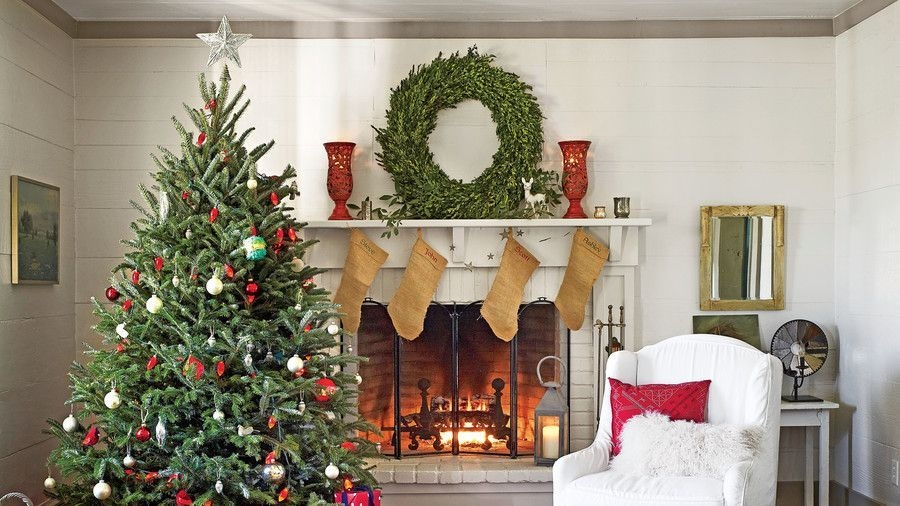 Gorgoeus Rustic Stone Fireplace With Christmas Décor 37