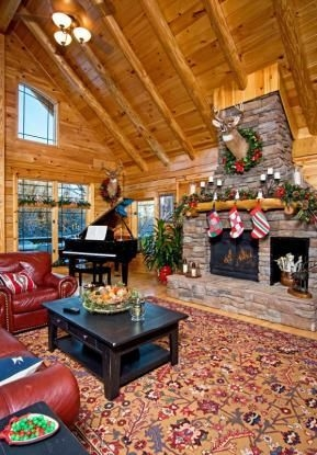 Gorgoeus Rustic Stone Fireplace With Christmas Décor 38