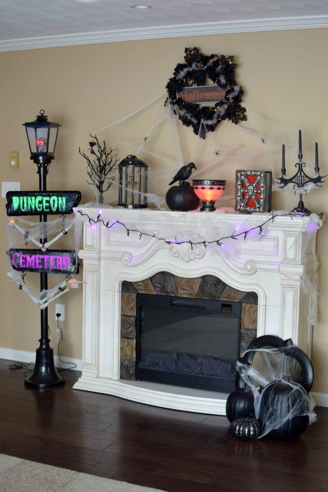 Incredible Halloween Fireplace Mantel Design Ideas28