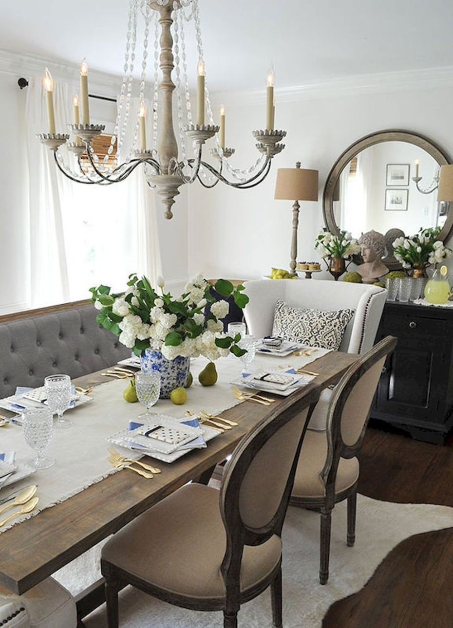 Wonderful French Country Dining Room Table Decor Ideas41