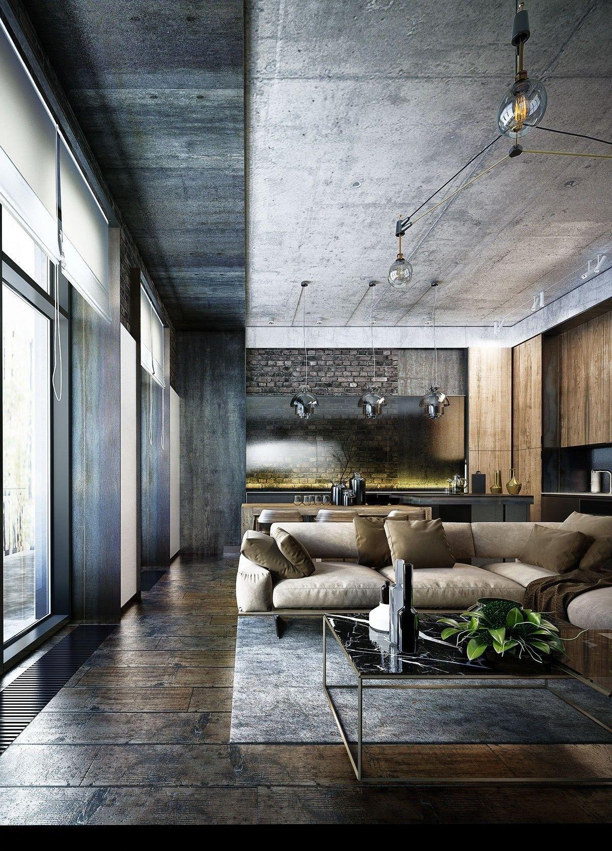 Creative Industrial Living Room Designs Ideas36