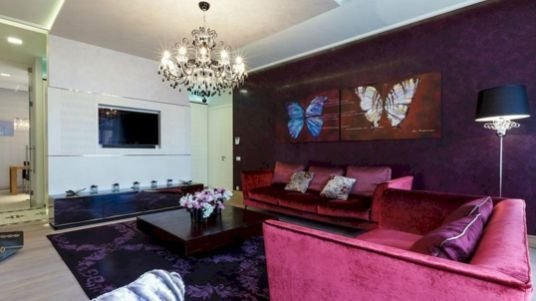 Modern Living Room Ideas With Purple Color Schemes24